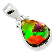 925 sterling silver 9.65cts natural multi color ammolite triplets pendant r33693