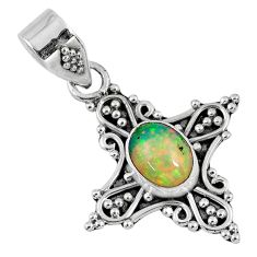925 sterling silver 2.31cts natural multi color ethiopian opal pendant r57752