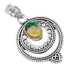 925 sterling silver 2.17cts natural multi color ethiopian opal pendant r57756