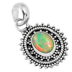 925 sterling silver 2.36cts natural multi color ethiopian opal pendant r57760