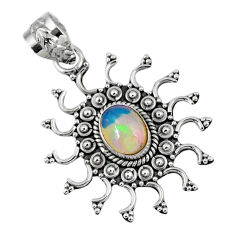 925 sterling silver 2.01cts natural multi color ethiopian opal pendant r57857