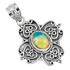 925 sterling silver 2.17cts natural multi color ethiopian opal pendant r57860