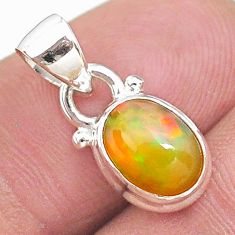 925 sterling silver 3.02cts natural multi color ethiopian opal pendant t21273