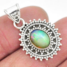 925 sterling silver 3.29cts natural multi color ethiopian opal pendant t3031