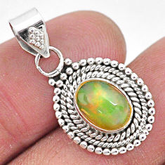 925 sterling silver 2.86cts natural multi color ethiopian opal pendant t3035