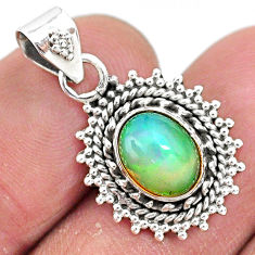 925 sterling silver 3.06cts natural multi color ethiopian opal pendant t3059