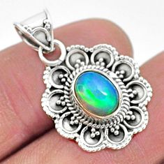 925 sterling silver 3.27cts natural multi color ethiopian opal pendant t3080