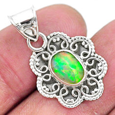 925 sterling silver 2.72cts natural multi color ethiopian opal pendant t3089