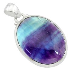 925 sterling silver 17.91cts natural multi color fluorite oval pendant t21329