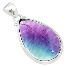 925 sterling silver 16.28cts natural multi color fluorite pear pendant t21304