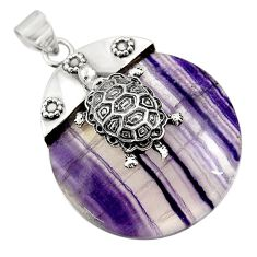 925 sterling silver 58.43cts natural multi color fluorite turtle pendant d45593
