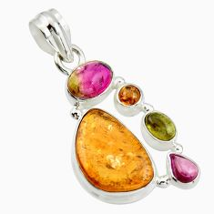 925 sterling silver 13.01cts natural multi color tourmaline fancy pendant r20378