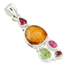 925 sterling silver 11.68cts natural multi color tourmaline pendant r20380
