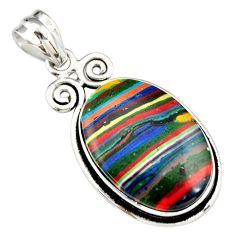 925 sterling silver 16.18cts natural multicolor rainbow calsilica pendant r20109