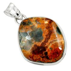 Clearance Sale- 925 sterling silver 25.57cts natural orange apatite (madagascar) pendant d43920