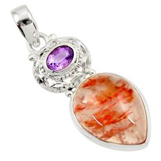 Clearance Sale- 925 sterling silver 16.70cts natural orange blood quartz amethyst pendant d45272