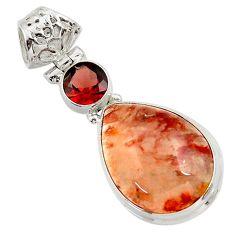 Clearance Sale- 925 sterling silver 16.54cts natural orange blood quartz garnet pendant d45280