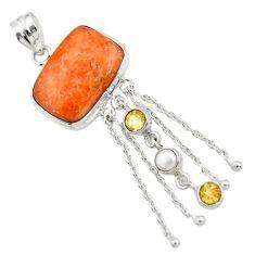 925 sterling silver 24.22cts natural orange calcite citrine pearl pendant d41775