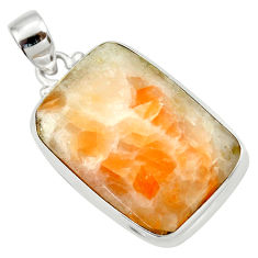 925 sterling silver 25.57cts natural orange calcite pendant jewelry d41665