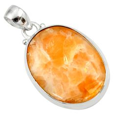 Clearance Sale- 925 sterling silver 19.23cts natural orange calcite pendant jewelry d41668
