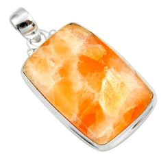 Clearance Sale- 925 sterling silver 28.30cts natural orange calcite pendant jewelry d41671