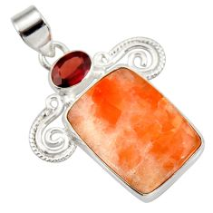 Clearance Sale- 925 sterling silver 20.07cts natural orange calcite red garnet pendant d42348