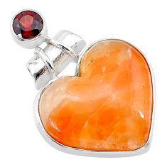 925 sterling silver 16.23cts natural orange calcite red garnet pendant t13177