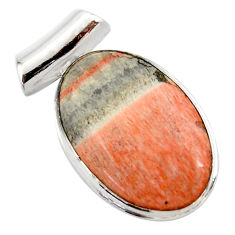 925 sterling silver 18.15cts natural orange celestobarite oval pendant r27997