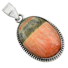 925 sterling silver 21.18cts natural orange celestobarite oval pendant r31971