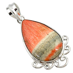 925 sterling silver 19.23cts natural orange celestobarite pear pendant r27999