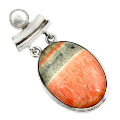 925 sterling silver 30.88cts natural orange celestobarite pearl pendant r30608