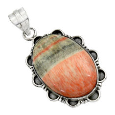 925 sterling silver 23.48cts natural orange celestobarite pendant jewelry r31964