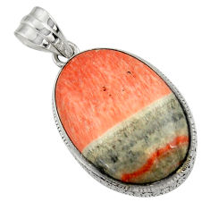 925 sterling silver 23.84cts natural orange celestobarite pendant jewelry r31968