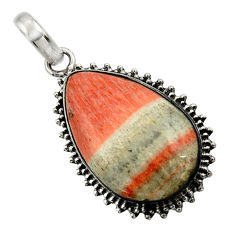 925 sterling silver 22.59cts natural orange celestobarite pendant jewelry r31980