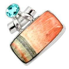 925 sterling silver 35.53cts natural orange celestobarite topaz pendant r30604