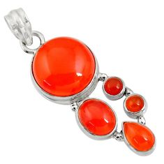 925 sterling silver 16.46cts natural orange cornelian (carnelian) pendant d43673