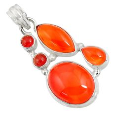 925 sterling silver 19.48cts natural orange cornelian (carnelian) pendant d43680