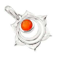 925 sterling silver 1.30cts natural orange cornelian (carnelian) pendant d45671