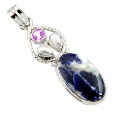 Clearance Sale- 925 sterling silver 16.85cts natural orange sodalite amethyst pendant d44696