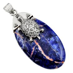 925 sterling silver 39.94cts natural orange sodalite oval turtle pendant d45543