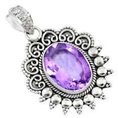 925 sterling silver 6.02cts natural pink amethyst oval pendant jewelry r57824