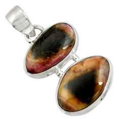 Clearance Sale- 925 sterling silver 13.27cts natural pink bio tourmaline pendant jewelry d42975