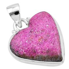 925 sterling silver 12.58cts natural pink cobalt calcite heart pendant t13444