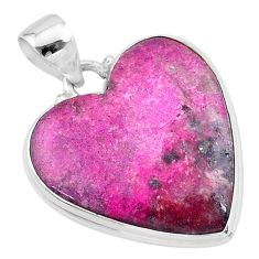 925 sterling silver 19.23cts natural pink cobalt calcite heart pendant t13449
