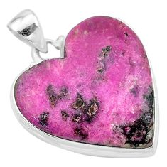 925 sterling silver 26.14cts natural pink cobalt calcite heart pendant t13454