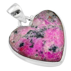 925 sterling silver 20.07cts natural pink cobalt calcite heart pendant t13457