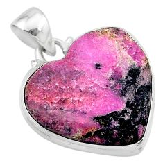 925 sterling silver 18.15cts natural pink cobalt calcite heart pendant t13487
