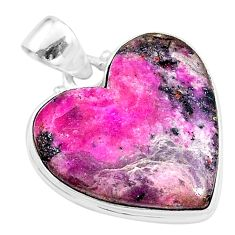 925 sterling silver 19.07cts natural pink cobalt calcite heart pendant t14848