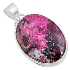 925 sterling silver 17.57cts natural pink cobalt calcite oval pendant r66070