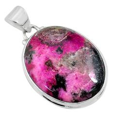 925 sterling silver 23.11cts natural pink cobalt calcite oval pendant r66094